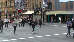 Sydney Downtown Park Street George Street traffic 03 pedestrians Footage