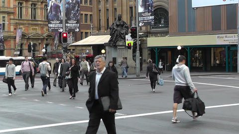 Sydney Downtown Park Street George Street traffic 03... Stock Video Footage