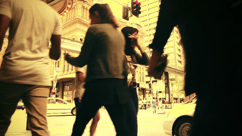 Sydney George Street 70s old film stylized 01 Stock Video Footage