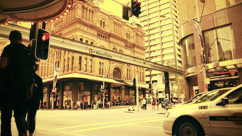 Sydney George Street 70s old film stylized 01 Footage
