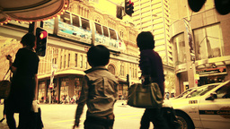 Sydney George Street 70s old film stylized 01 Stock Video Footage