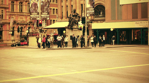 Sydney George Street 70s old film stylized 07 Stock Video Footage