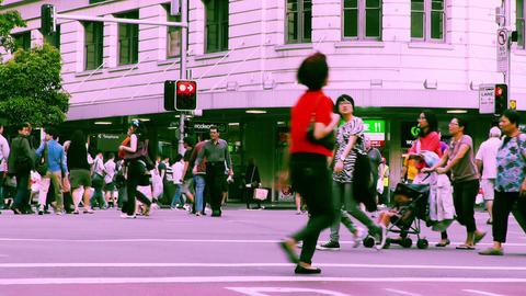 Sydney George Street 70s old film stylized 09 Stock Video Footage