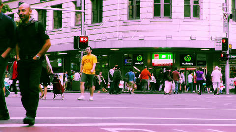 Sydney George Street 70s old film stylized 09 Stock Video Footage