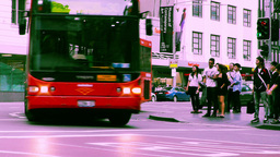 Sydney George Street 70s old film stylized 11 Stock Video Footage