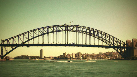 Sydney Harbour Bridge 70s old film stylized 01 Stock Video Footage