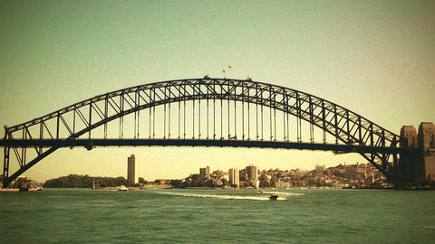 Sydney Harbour Bridge 70s old film stylized 01 Footage