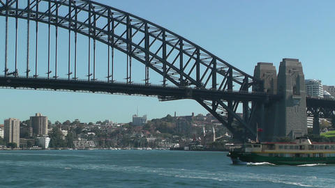 Sydney Harbour Bridge and Ferries Stock Video Footage