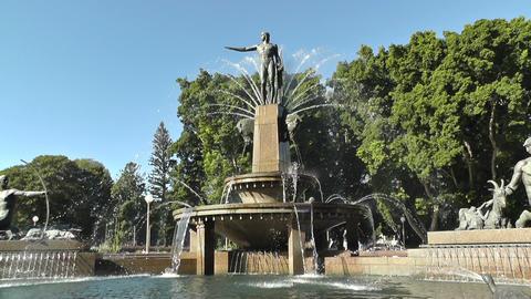 Sydney Hyde Park Archibald Fountain 01 Stock Video Footage