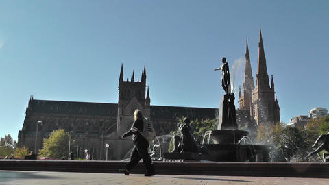 Sydney Hyde Park Saint Marys Cathedral Archibald Fountain 01 Stock Video Footage