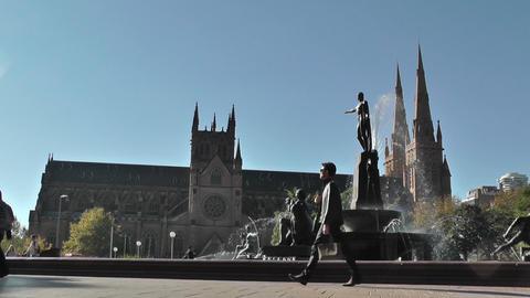 Sydney Hyde Park Saint Marys Cathedral Archibald Fountain 01 Stock Video Footage