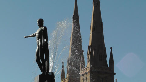 Sydney Hyde Park Saint Marys Cathedral Archibald Fountain 03 Footage