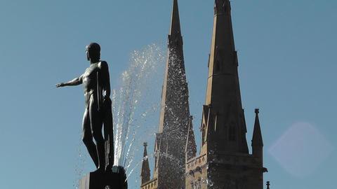 Sydney Hyde Park Saint Marys Cathedral Archibald Fountain 03 Stock Video Footage