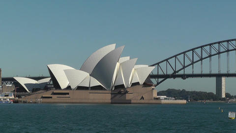 Sydney Opera House and Harbour Bridge 01 Stock Video Footage