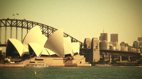 Sydney Opera House and Harbour Bridge 70s old film stylized 03 Footage
