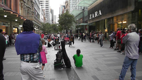 Sydney Pitt Street Crowd Stock Video Footage
