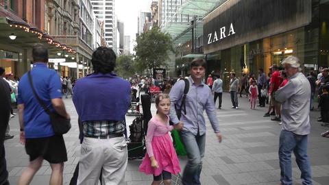 Sydney Pitt Street Crowd Stock Video Footage