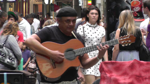 Sydney Pitt Street Musician 04 Stock Video Footage