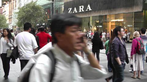 Sydney Pitt Street pedestrians Stock Video Footage