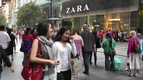 Sydney Pitt Street pedestrians Footage