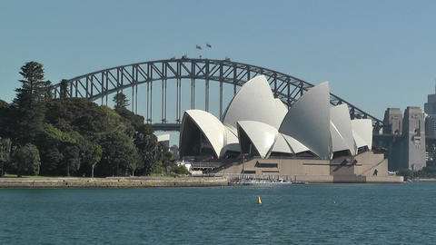 Sydney Royal Botanical Garden Farm Cove view to the Harbour Bridge and Opera House 02 Footage