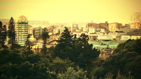 Sydney view over Hyde Park 70s old film stylized Footage