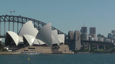 Sydney view to the Harbour Bridge and Opera House 01 Stock Video Footage