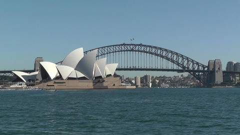 Sydney view to the Harbour Bridge and Opera House  Footage