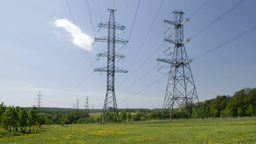 power line on the field Stock Video Footage