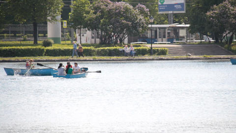 people boating on the lake Stock Video Footage