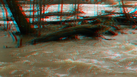 Stereoscopic 3D waterfall in a river 5 Stock Video Footage