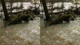Stereoscopic 3D waterfall in a river 5 Footage