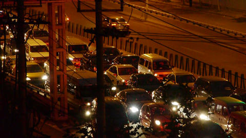 Many cars on overpass,traffic jam at night Footage