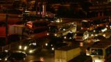 Many cars on road,traffic jam at night,crossroads,junctions Footage