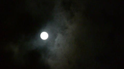 Full moon at cloudy sky,night flight over clouds,mystery... Stock Video Footage