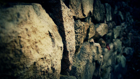 stone wall and winding lane in mountain Stock Video Footage