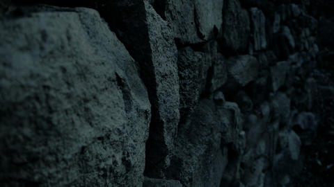 nostalgic stone wall at night Stock Video Footage