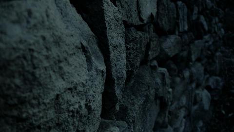 nostalgic stone wall at night Stock Video Footage