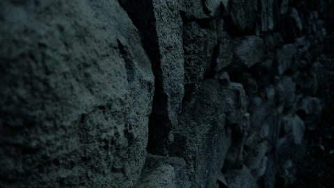 nostalgic stone wall at night Footage