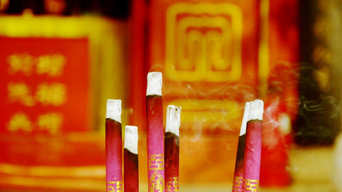 Smoke-filled burning incense,In temple Stock Video Footage