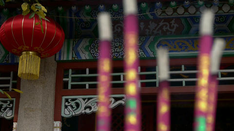 Chinese garden courtyard,red lantern,Burning incense in... Stock Video Footage