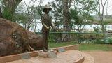 Brazil: statue of Frederico Engel at Iguacu Falls Footage