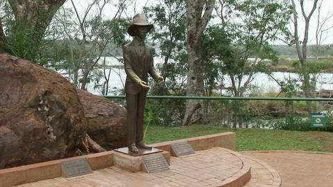 Brazil: statue of Frederico Engel at Iguacu Falls Stock Video Footage