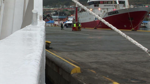 South Georgia: expedition ship leaving harbor 1 Stock Video Footage