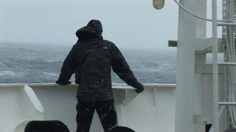 South Georgia: man looks into sea during storm 1 Stock Video Footage