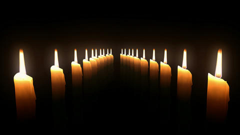 Candle Rows Loop. CGI. HD Stock Video Footage