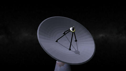 Radio / Satellite Dish turning. Loop. CG. HD Stock Video Footage