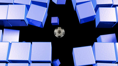 Soccerball Wall Zero Gravity Followcam CGI-HD Stock Video Footage