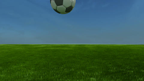 Soccerball bounces to cam slomo - CGI-HD Stock Video Footage