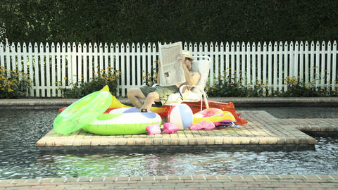 Man relaxing by swimming pool with newspaper, putting hat... Stock Video Footage